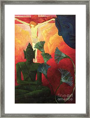 Christ And Buddha Framed Print