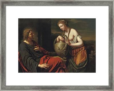 Christ And The Samaritan Woman Framed Print by Adriaan van der Werff