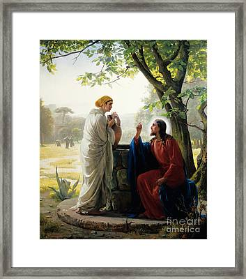 Christ And The Samaritan Woman Framed Print by Celestial Images