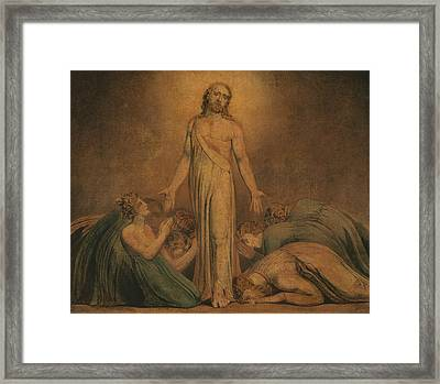 Christ Appearing To The Apostles After The Resurrection Framed Print by William Blake
