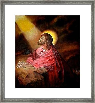Christ At Gethsemane Framed Print by G Cuffia