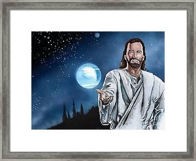 Christ At Night Framed Print by Bill Richards