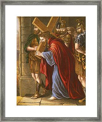 Christ Bearing The Cross Framed Print by English School