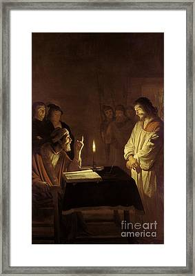 Christ Before The High Priest Framed Print by Gerrit van Honthorst