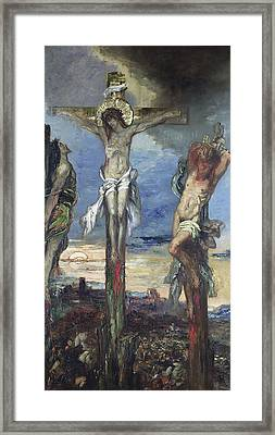 Christ Between The Two Thieves Framed Print by Gustave Moreau