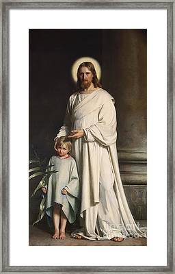 Christ Blessing The Little Child Framed Print by MotionAge Designs