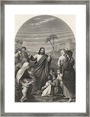 Christ Blessing The Little Children Framed Print by Vintage Design Pics