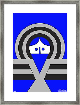 Christ Blue Framed Print by Asbjorn Lonvig