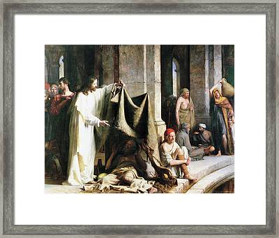 Christ Christ And The Man At The Healing Wel Framed Print