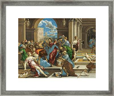 Christ Cleansing The Temple Framed Print by El Greco