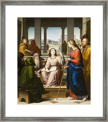 Christ Disputing With The Doctors In The Temple Framed Print by Franz von Rohden