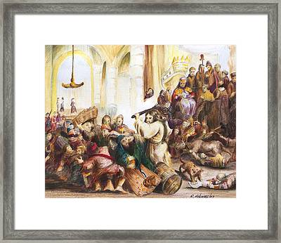 Christ Driving Out The Money Changers Framed Print