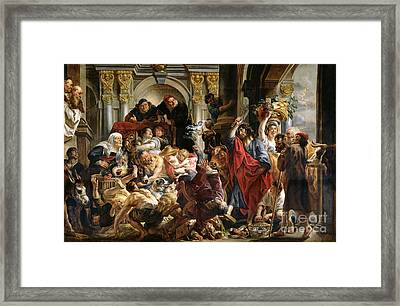 Christ Driving The Merchants From The Temple Framed Print by Jacob Jordaens