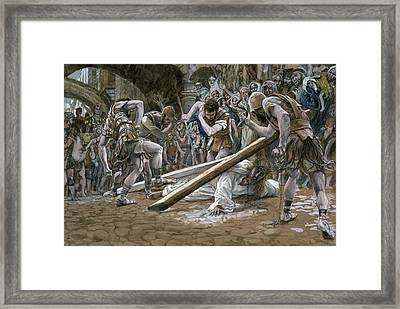 Christ Falls Beneath The Cross Framed Print