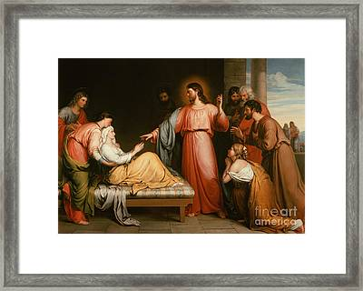 Christ Healing The Mother Of Simon Peter Framed Print by John Bridges