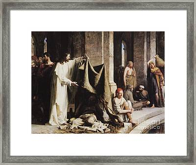 Christ Healing The Sick At The Pool Of Bethesda Framed Print by Carl Heinrich Bloch