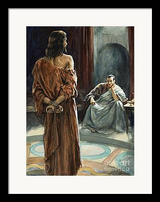 Christ In Front Of Pontius Pilate Framed Prints