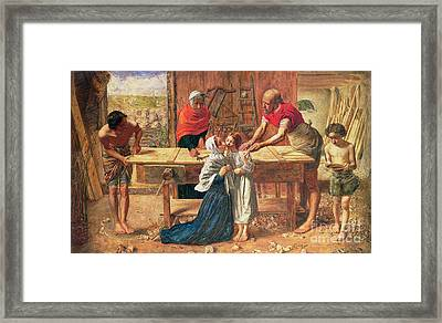 Christ In The House Of His Parents Framed Print by JE Millais and Rebecca Solomon