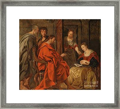 Christ In The House Of Mary Martha And Lazarus Framed Print by Circle of Jacob Jordaens