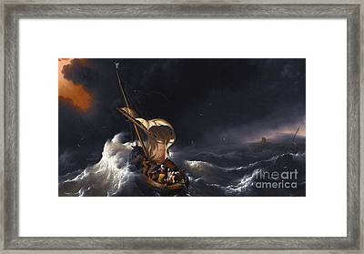 Christ In The Storm On The Sea Of Galilee  Framed Print by MotionAge Designs