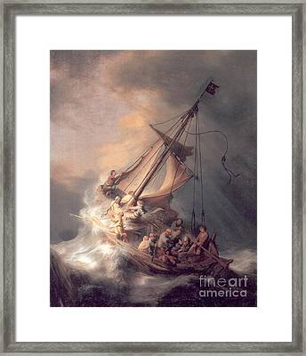 Christ In The Storm Framed Print by Rembrandt Van Rijn