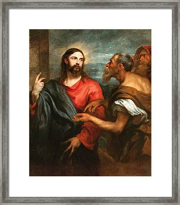 Christ Of The Coin Framed Print