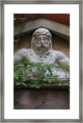 Christ On Shrine In Venice With Leaves Framed Print by Michael Henderson