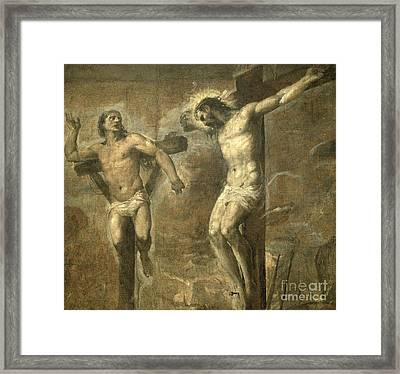 Christ On The Cross And The Good Thief Framed Print by Titian