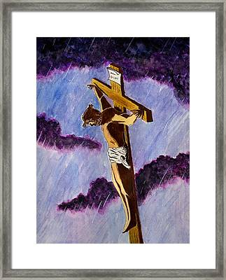 Christ On The Cross Framed Print by Michael Vigliotti