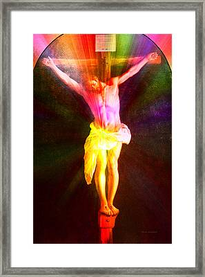 Christ On The Cross Pa Prismatic Burst Vertical Framed Print by Thomas Woolworth