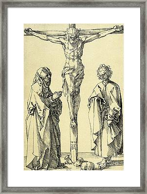 Christ On The Cross With Mary And John The Baptist Framed Print by Albrecht Durer