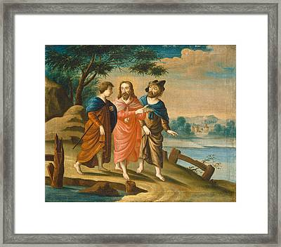 Christ On The Road To Emmaus Framed Print by American 18th Century