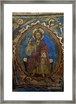 Christ Pantocrator Fresco. Basilica Saint-julien. Brioude. Haute Loire. Auvergne. France. Framed Print by Bernard Jaubert