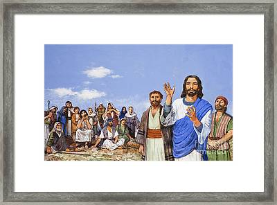 Christ Preaching Framed Print by Clive Uptton