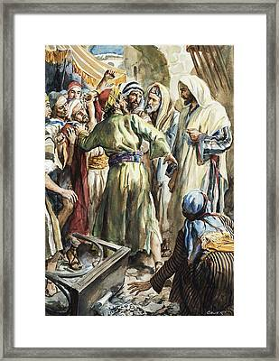 Christ Removing The Money Lenders From The Temple Framed Print by Henry Coller