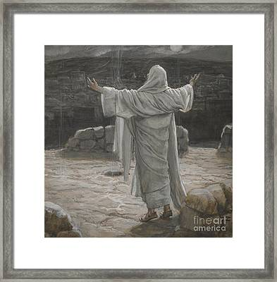 Christ Retreats To The Mountain At Night Framed Print