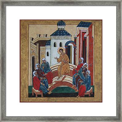 Christ Teaching In The Temple Framed Print by Phillip Schwartz