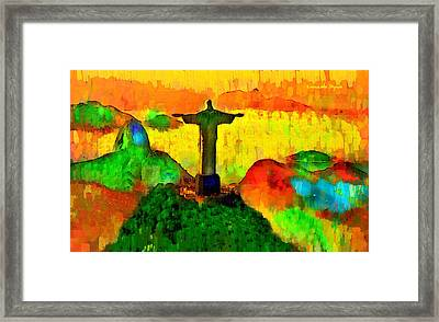 Christ The Redeemer In Rio 1 - Pa Framed Print