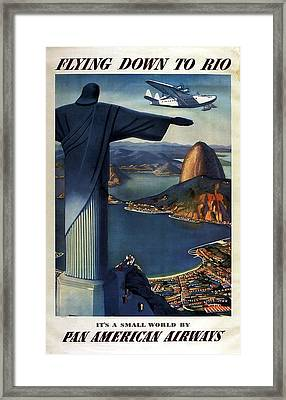 Christ The Redeemer, Rio, Brazil - Pan American Airways - Retro Travel Poster - Vintage Poster Framed Print