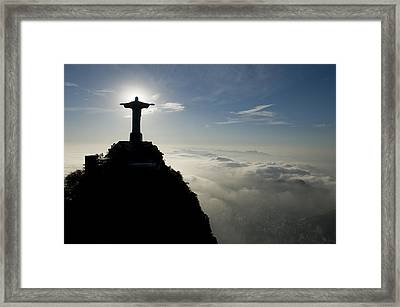 Christ The Redeemer Statue At Sunrise Framed Print