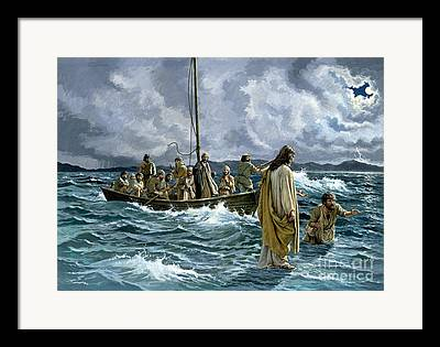 Jesus Walking On Water Framed Prints