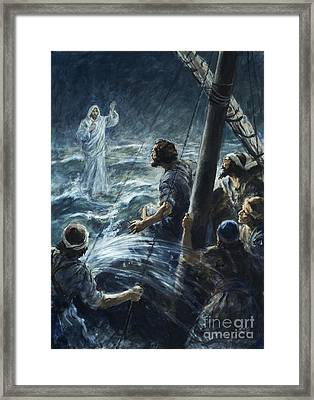 Christ Walking On The Sea Of Galilee Framed Print by Henry Coller