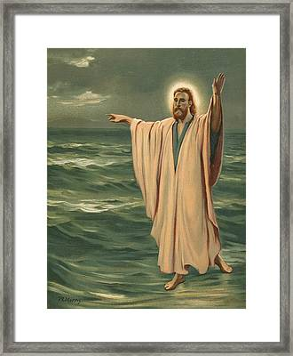 Christ Walking On The Sea Framed Print by Philip Richard Morris