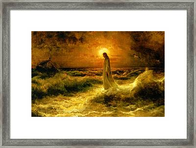 Christ Walking On The Waters Framed Print by Julius Sergius Klever