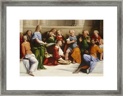 Christ Washing The Disciples' Feet Framed Print by Garofalo