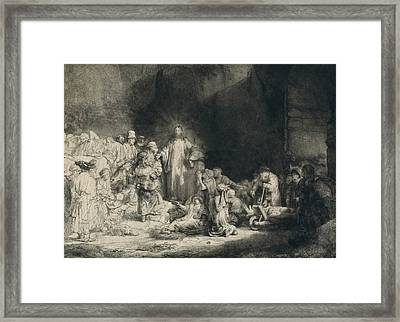 Christ With The Sick Around Him, Receiving Little Children Framed Print by Rembrandt