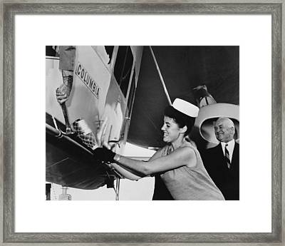 Christening The Blimp Framed Print