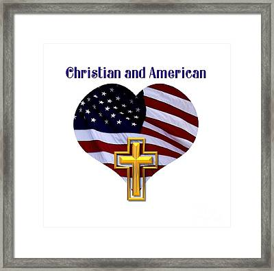 Christian And American Flag With Golden Cross Framed Print by Rose Santuci-Sofranko
