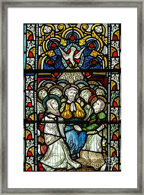 Christian Pentecost On A Stained Glass At Christ Chuch Cathedral Dublin Framed Print by RicardMN Photography
