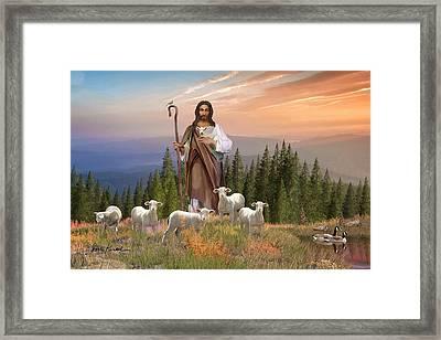 Christian Religious Art Of Jesus Paintings Psalm 23 - The Lord Is My Shepherd Framed Print by Dale Kunkel Art